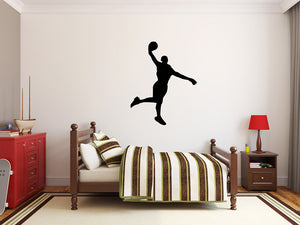 "Basketball Player Wall Decal - 34"" x 27"" Basketball Player Silhouette Vinyl Decal - Basketball Player 3"