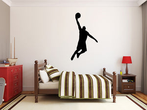 "Basketball Player Wall Decal - 40"" x 23"" Basketball Player Silhouette Vinyl Decal - Basketball Player 6"