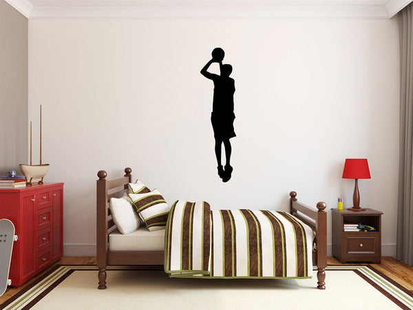 "Basketball Player Wall Decal - 40"" x 10"" Basketball Player Silhouette Vinyl Decal - Basketball Player 13"