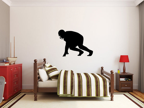"Football Player Wall Decal - 27"" x 35"" Football Player Silhouette Vinyl Decal - Football Player 9"