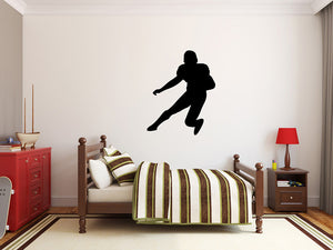 "Football Player Wall Decal - 33"" x 27"" Football Player Silhouette Vinyl Decal - Football Player 14"