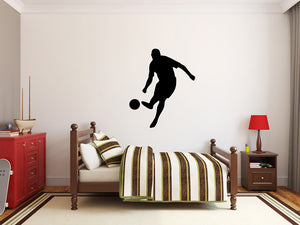 "Soccer Player Wall Decal - 32"" x 27"" Soccer Player Silhouette Vinyl Decal - Soccer Player 7"