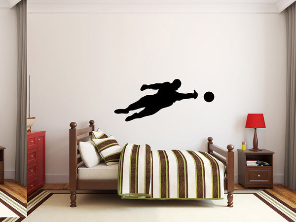 "Soccer Player Wall Decal - 19"" x 45"" Soccer Player Silhouette Vinyl Decal - Soccer Player 16"