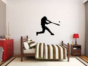 "Baseball Player Wall Decal - 33"" x 27"" Baseball Player Silhouette Vinyl Decal - Baseball Player 2"