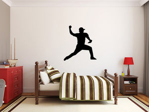 "Baseball Player Wall Decal - 29"" x 27"" Baseball Player Silhouette Vinyl Decal - Baseball Player 8"