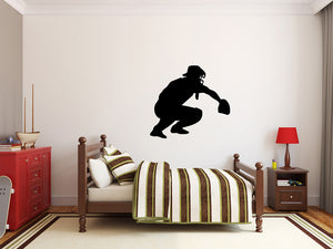 "Baseball Player Wall Decal - 27"" x 30"" Baseball Player Silhouette Vinyl Decal - Baseball Player 14"