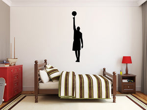 "Basketball Player Wall Decal - 45"" x 10"" Basketball Player Silhouette Vinyl Decal - Basketball Player 10"