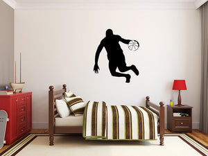 "Basketball Player Wall Decal - 32"" x 27"" Basketball Player Silhouette Vinyl Decal - Basketball Player 14"