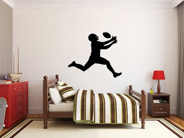 "Football Player Wall Decal - 27"" x 32"" Football Player Silhouette Vinyl Decal - Football Player 12"