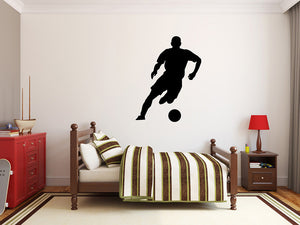 "Soccer Player Wall Decal - 35"" x 27"" Soccer Player Silhouette Vinyl Decal - Soccer Player 1"