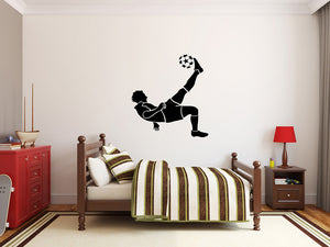 "Soccer Player Wall Decal - 29"" x 28"" Soccer Player Silhouette Vinyl Decal - Soccer Player 15"