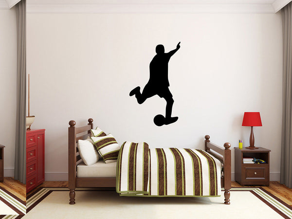 "Soccer Player Wall Decal - 45"" x 27"" Soccer Player Silhouette Vinyl Decal - Soccer Player 17"
