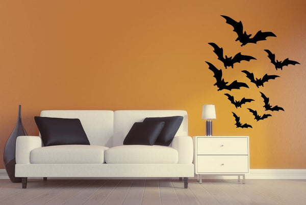 "Halloween Decal - 29"" x 27"" Flying Bats Halloween Removable Wall Decal"