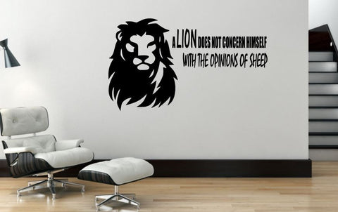 Wall Decal, Motivational Wall Decor - A Lion Does Not Concern Himself With The Opinions Of Sheep