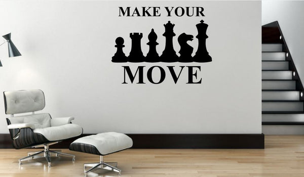 "Wall Decal ""Make Your Move"" Chess Silhouette - Removable Vinyl Wall Decal"