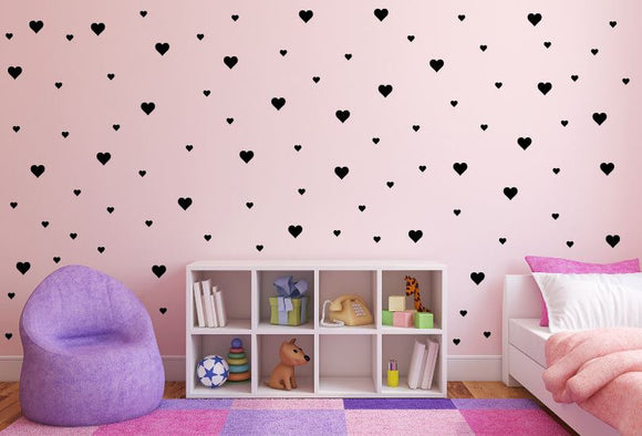 Hearts Wall Decals - Removable Wall Pattern Vinyl Wall Decals - Combination of 2 inch and 1 inch hearts