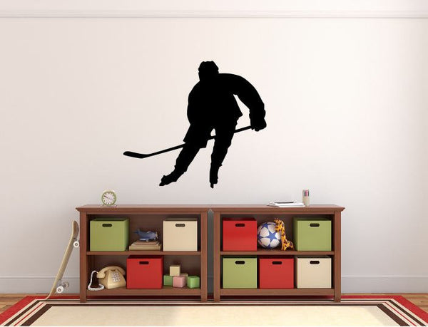 "Hockey Player Wall Decal - 27"" x 30"" Hockey Player Silhouette Vinyl Decal - Hockey Player 1"