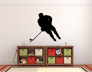 "Hockey Player Wall Decal - 27"" x 29"" Hockey Player Silhouette Vinyl Decal - Hockey Player 15"