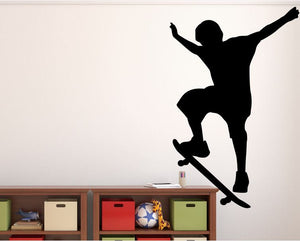 "Skateboarder Wall Decal - 42"" x 27"" Skateboarder Silhouette Vinyl Decal - Skateboarder 2"