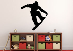 "Snowboarder Wall Decal - 30"" x 27"" Snowboarder Silhouette Vinyl Decal - Snowboarder 3"