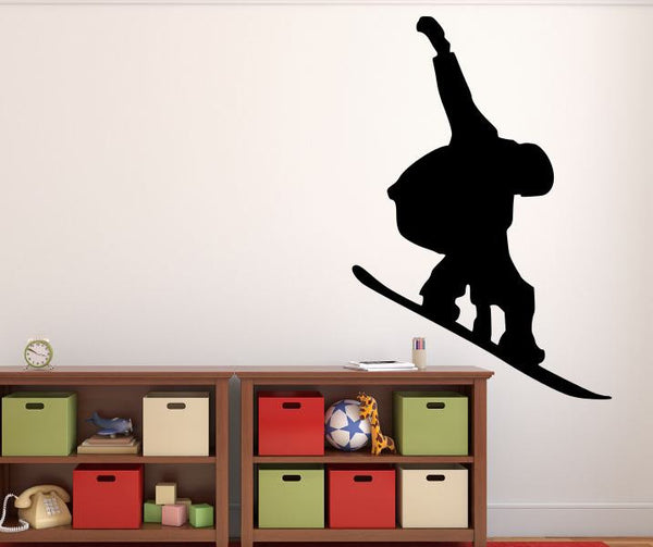 "Snowboarder Wall Decal - 40"" x 27"" Snowboarder Silhouette Vinyl Decal - Snowboarder 16"