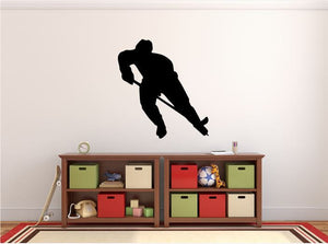 "Hockey Player Wall Decal - 30"" x 27"" Hockey Player Silhouette Vinyl Decal - Hockey Player 2"