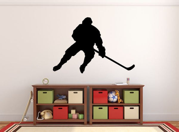 "Hockey Player Wall Decal - 27"" x 39"" Hockey Player Silhouette Vinyl Decal - Hockey Player 6"