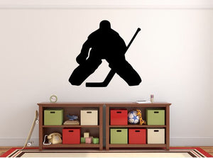 "Hockey Player Wall Decal - 27"" x 29"" Hockey Player Silhouette Vinyl Decal - Hockey Player 11"