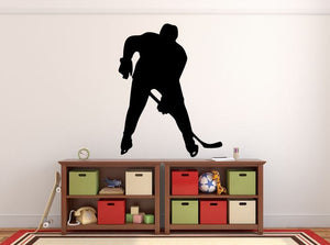 "Hockey Player Wall Decal - 35"" x 27"" Hockey Player Silhouette Vinyl Decal - Hockey Player 12"