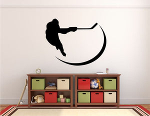 "Hockey Player Wall Decal - 27"" x 35"" Hockey Player Silhouette Vinyl Decal - Hockey Player 13"