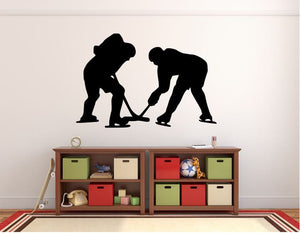 "Hockey Players Wall Decal - 27"" x 45"" Hockey Players Silhouette Vinyl Decal - Hockey Player 16"