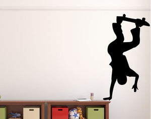 "Skateboarder Wall Decal - 43"" x 27"" Skateboarder Silhouette Vinyl Decal - Skateboarder 4"