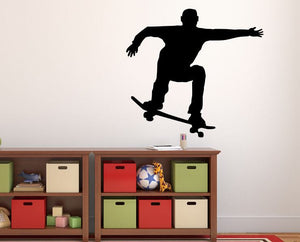 "Skateboarder Wall Decal - 27"" x 29"" Skateboarder Silhouette Vinyl Decal - Skateboarder 9"