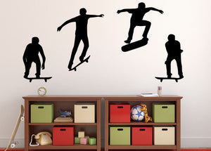 "Skateboarder Wall Decal - 27"" x 54"" Skateboarder Silhouette Vinyl Decal - Skateboarder 17"