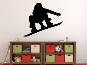 "Snowboarder Wall Decal - 27"" x 32"" Snowboarder Silhouette Vinyl Decal - Snowboarder 12"