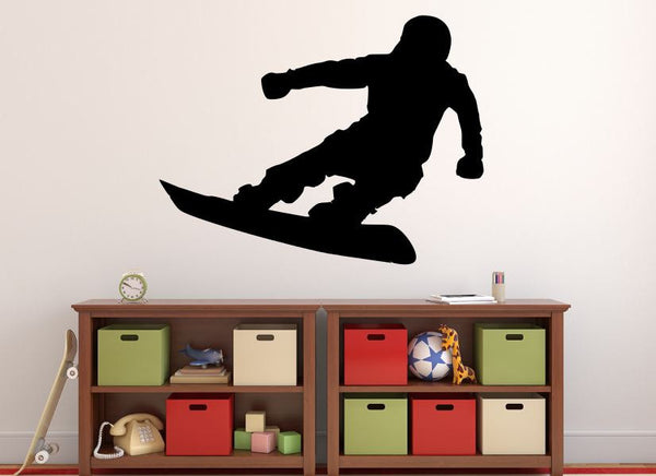 "Snowboarder Wall Decal - 27"" x 35"" Snowboarder Silhouette Vinyl Decal - Snowboarder 13"