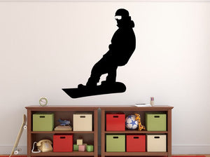 "Snowboarder Wall Decal - 33"" x 27"" Snowboarder Silhouette Vinyl Decal - Snowboarder 18"
