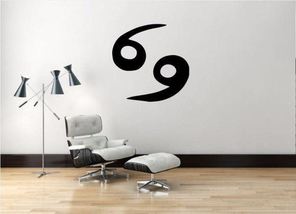 Cancer Sign Wall Decal, Cancer Zodiac Wall Sticker, Zodiac Symbol Wall Decor