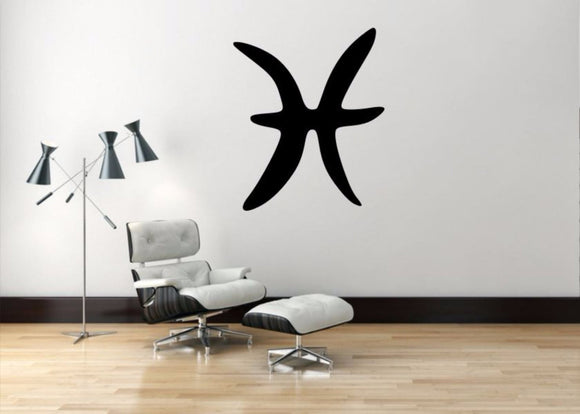 Pisces Sign Wall Decal, Pisces Zodiac Wall Sticker, Zodiac Symbol Wall Decor