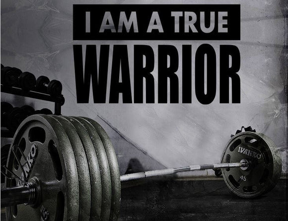 Fitness Motivation Home Gym Wall Decal - I Am A True Warrior