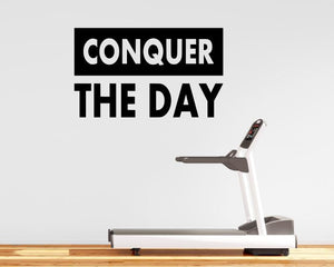 Fitness Motivation Home Gym Wall Decal - Conquer The Day