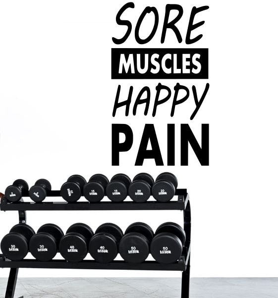 Fitness Motivation Home Gym Wall Decal - Sore Muscles Happy Pain