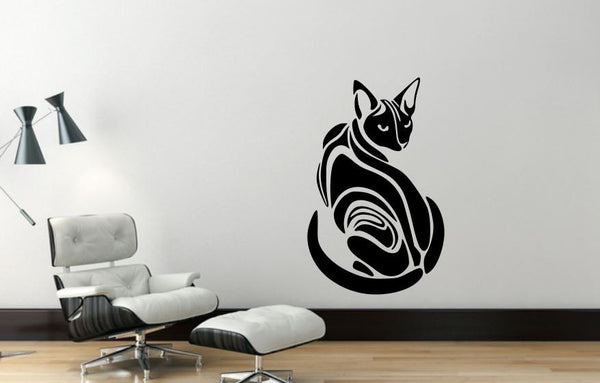 Wall Decal Sphynx Cat, Removable Vinyl Wall Decor SC2