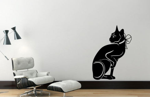 Wall Decal Sphynx Cat, Removable Vinyl Wall Decor SC1