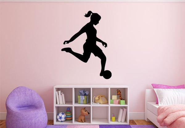 "Girl Soccer Player Wall Decal - 37"" x 27"" Girl Soccer Player Silhouette Vinyl Decal - Girl Soccer Player 1"