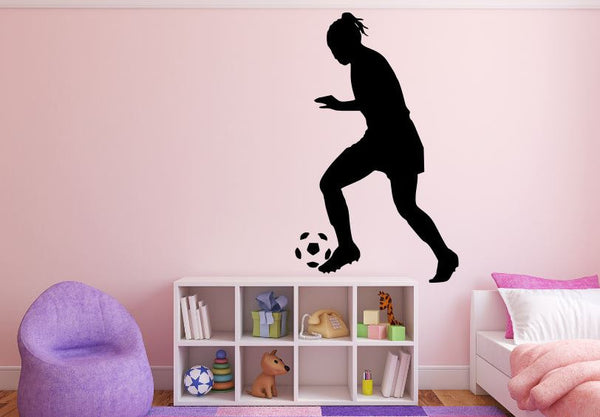 "Girl Soccer Player Wall Decal - 45"" x 27"" Girl Soccer Player Silhouette Vinyl Decal - Girl Soccer Player 6"