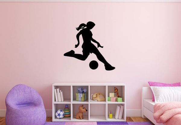 "Girl Soccer Player Wall Decal - 27"" x 28"" Girl Soccer Player Silhouette Vinyl Decal - Girl Soccer Player 8"