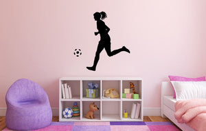 "Girl Soccer Player Wall Decal - 29"" x 27"" Girl Soccer Player Silhouette Vinyl Decal - Girl Soccer Player 9"