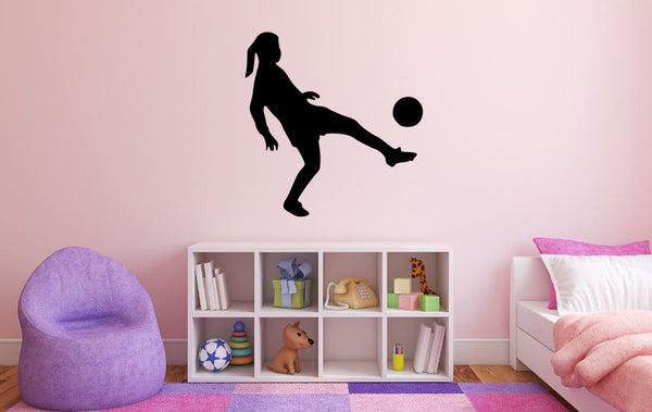 "Girl Soccer Player Wall Decal - 28"" x 27"" Girl Soccer Player Silhouette Vinyl Decal - Girl Soccer Player 13"
