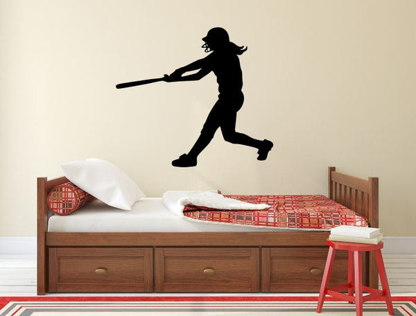 "Softball Player Wall Decal - 27"" x 30"" Softball Player Silhouette Vinyl Decal - Softball Player 1"